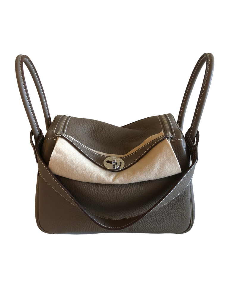 Hermes Lindy 26 Etoupe in Clemence Leather and Palladium Hardware