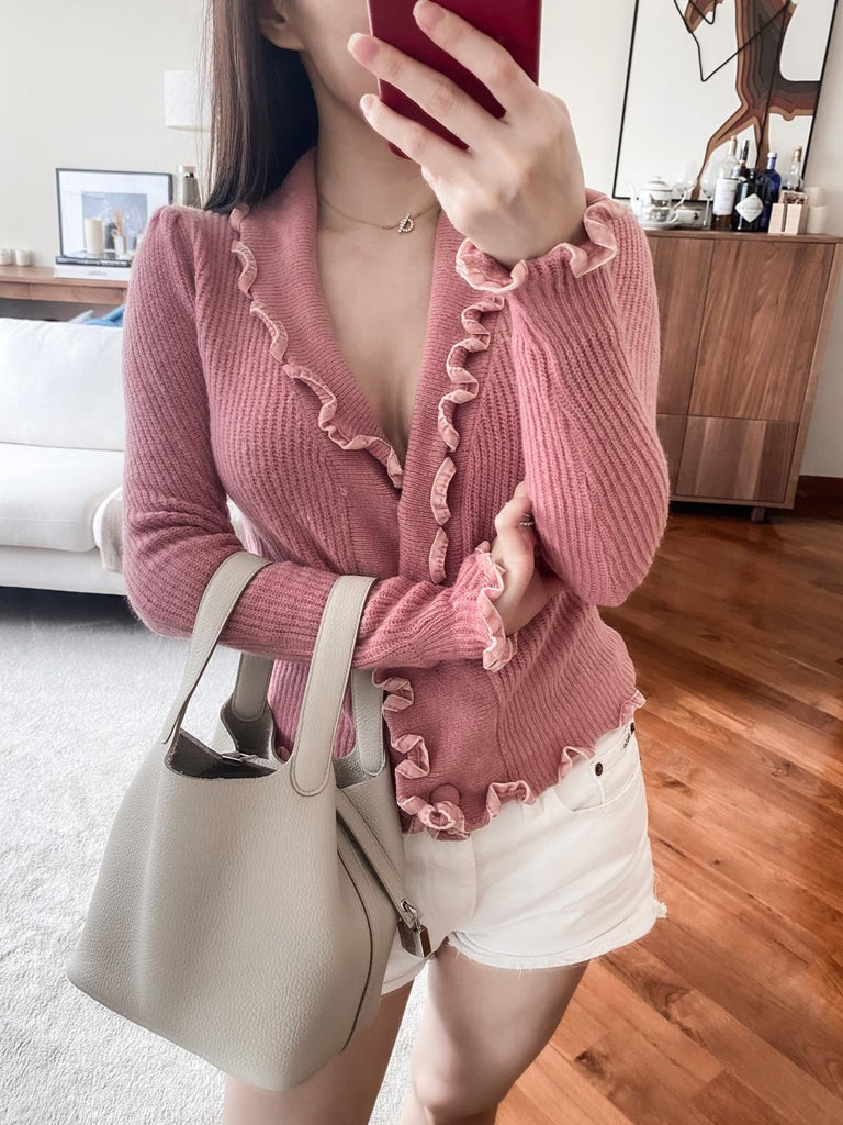 Patsy pink ruffled wrap ribbed cardigan