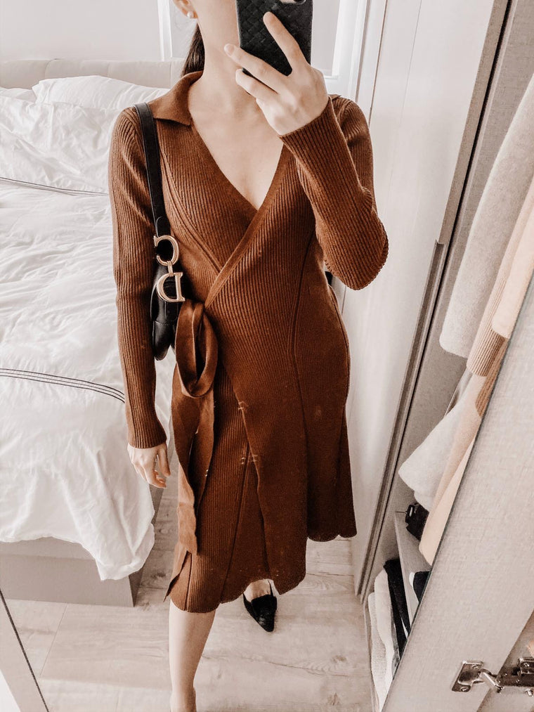 Shirley wrap belted knitted midi dress