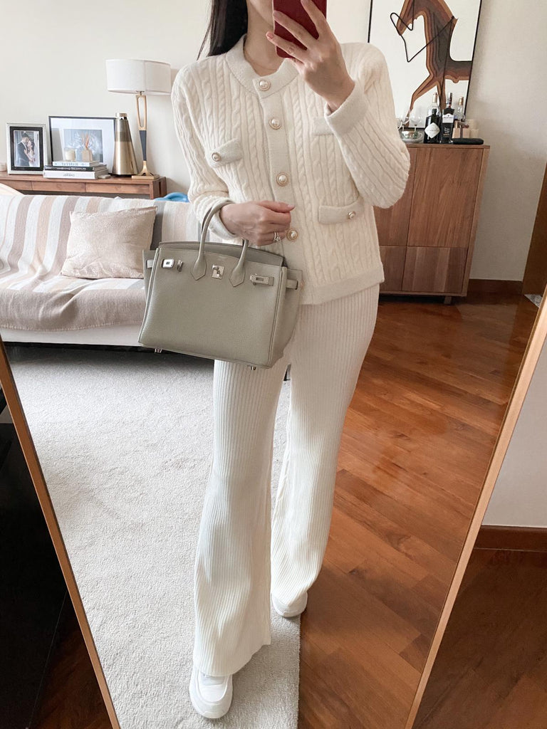 Lucy cream ribbed wide leg pants