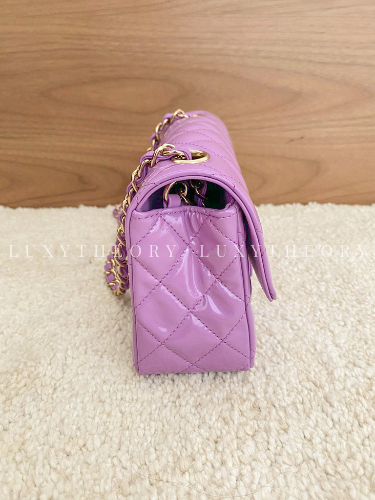 CHANEL PATENT LEATHER QUILTED CLASSIC MINI BAG