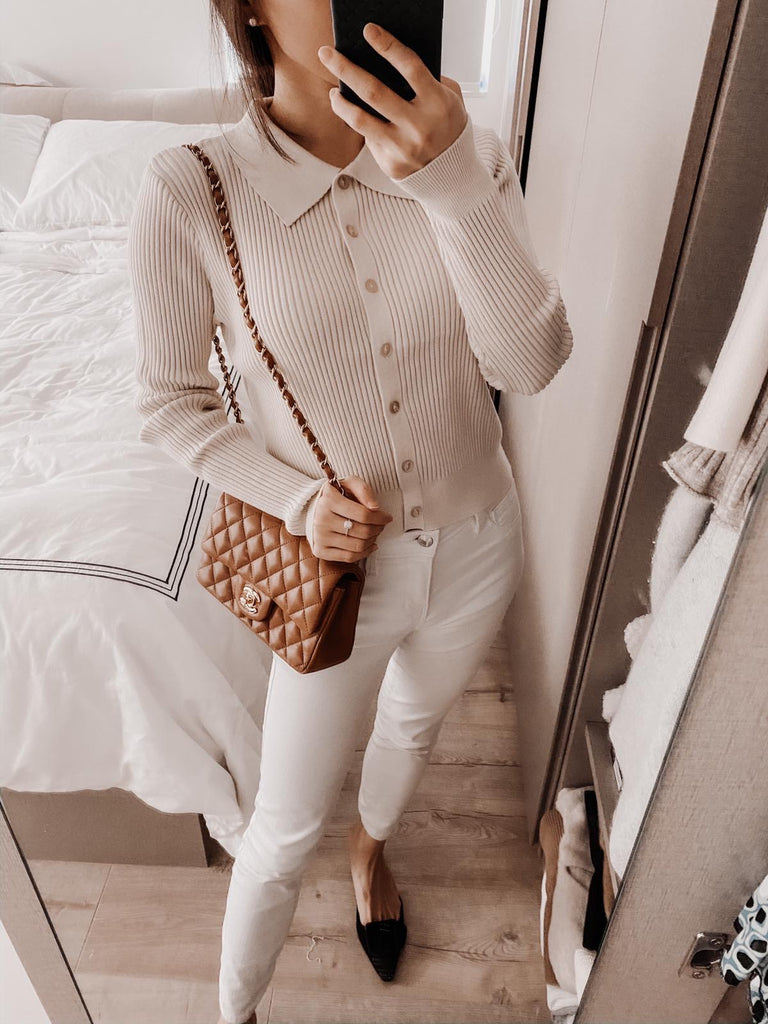 Lucy cream collar ribbed cardigan