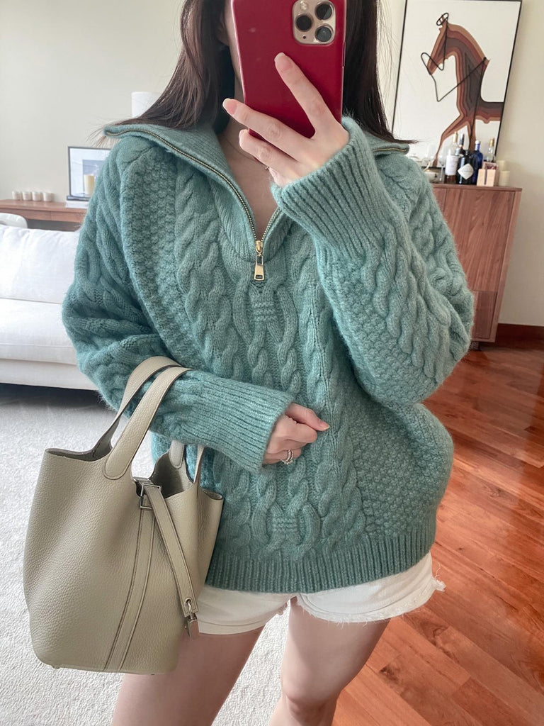 Juliana blue cable-knit half-zip sweater
