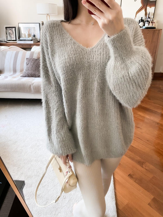 Jessica grey v-neck soft sweater