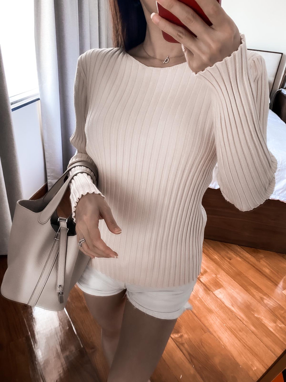 Delaney cream ribbed crewneck sweater