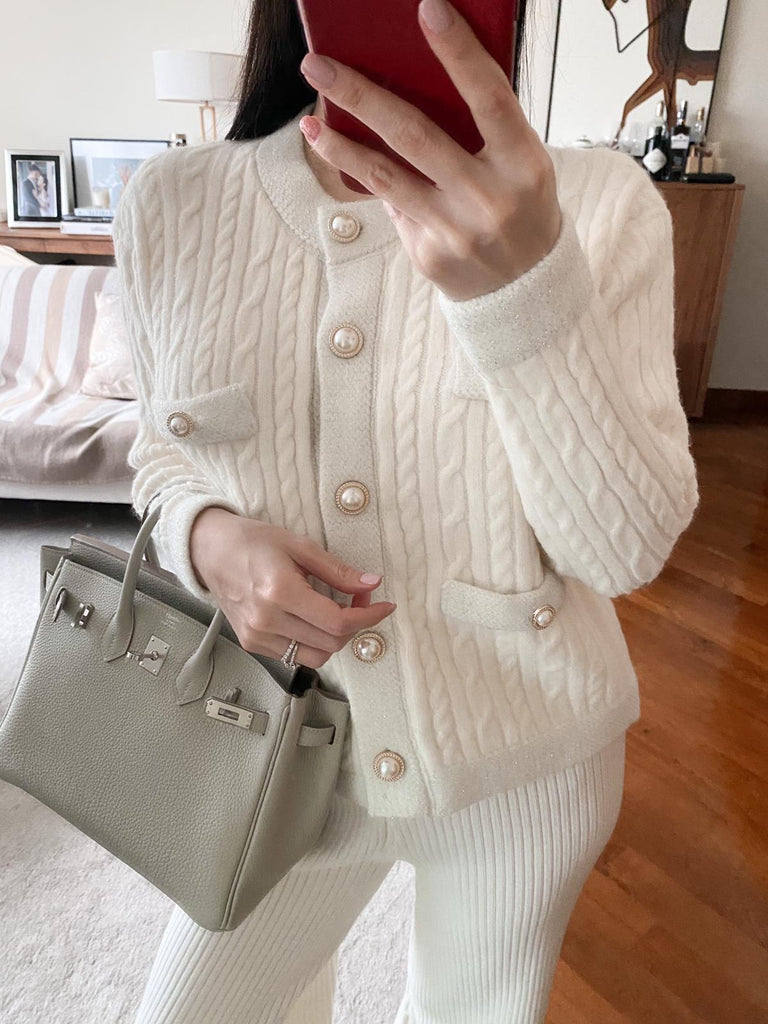Janelle cream buttoned cable-knit cardigan