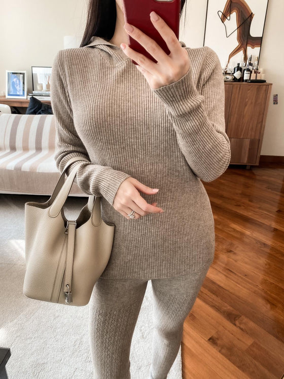 Dora khaki ribbed hooded sweater