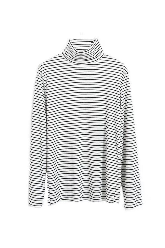 Parisian Striped Turtleneck Top