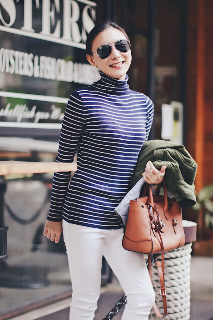 Luxy Theory Turtleneck Nautical Blue Stripe Sweater