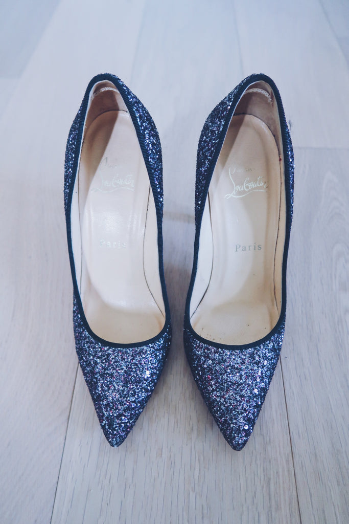 Christian Louboutin Rose Antique Glitter Pigalle 100 Pumps