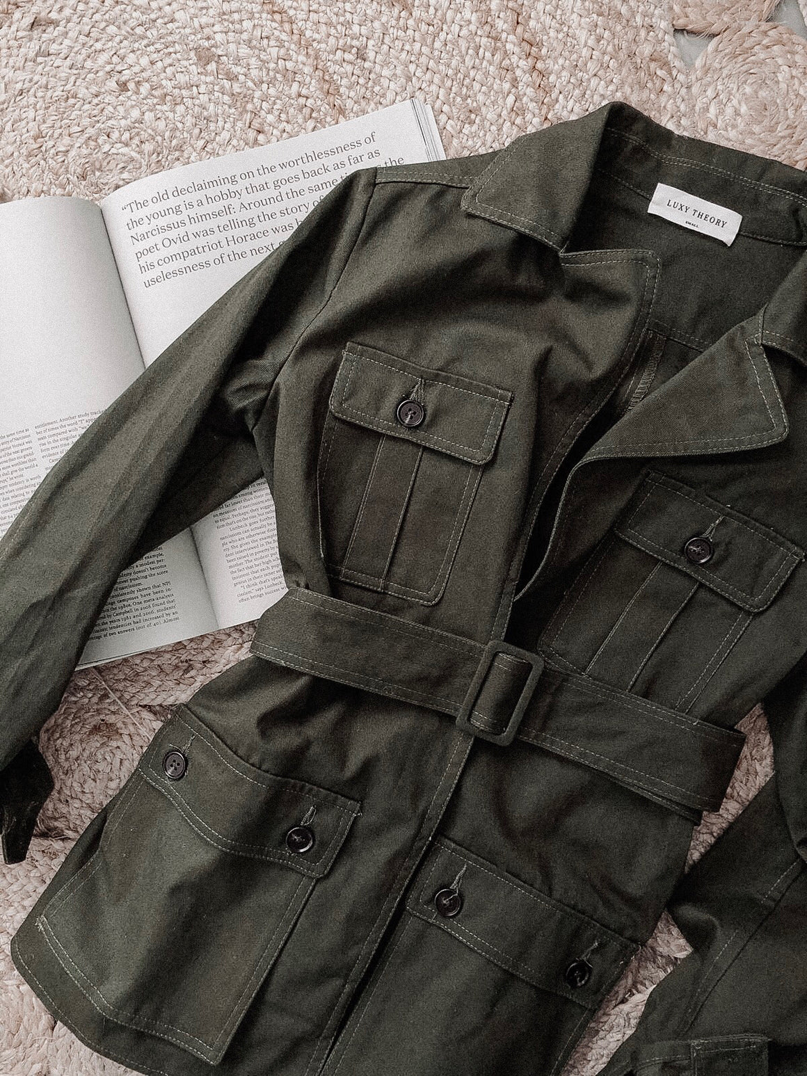 Jamais military green belted cotton jacket