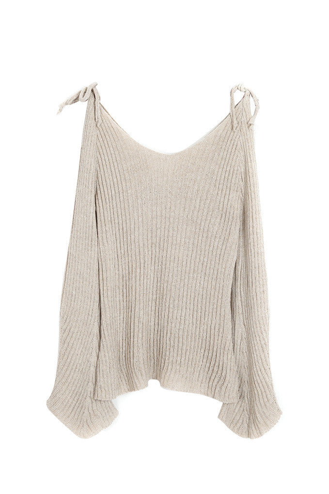 Almond Off the Shoulder Sweater