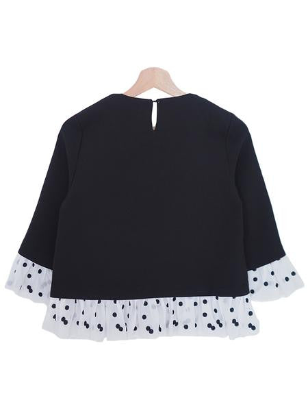 Embroidered Polka Dot Mock Layer Top