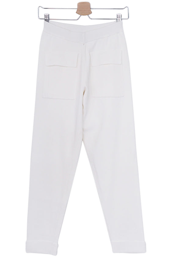 White Knit Trousers