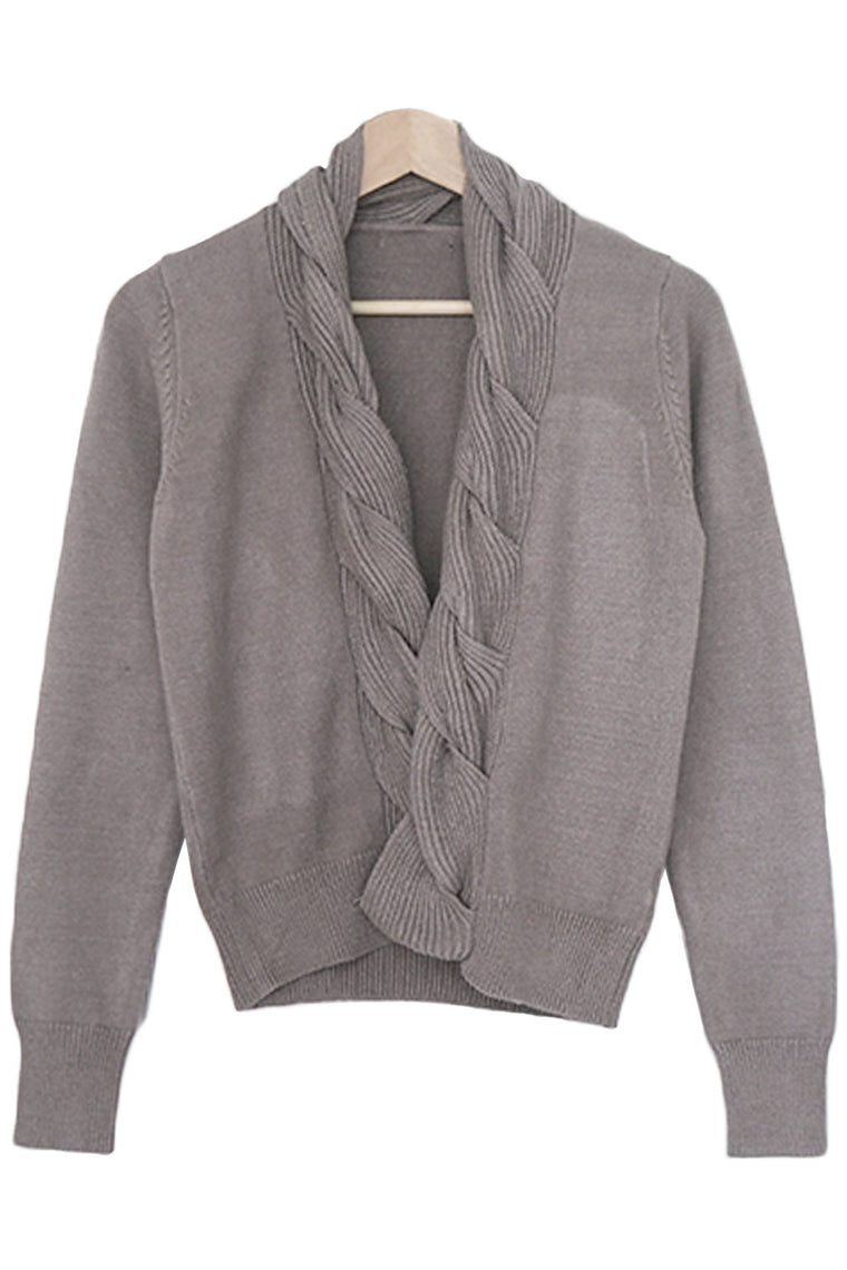 Taupe Braided Crop Cardigan