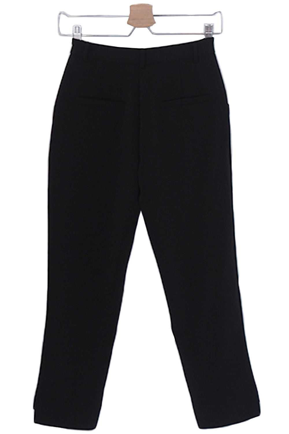 Black Hi-low Crop Tailor Trousers