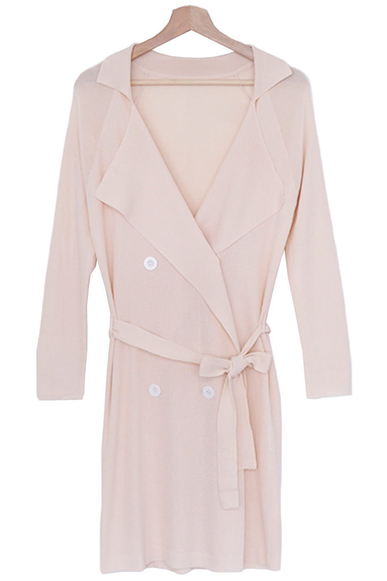 Peach Sheer Belted Cardigan