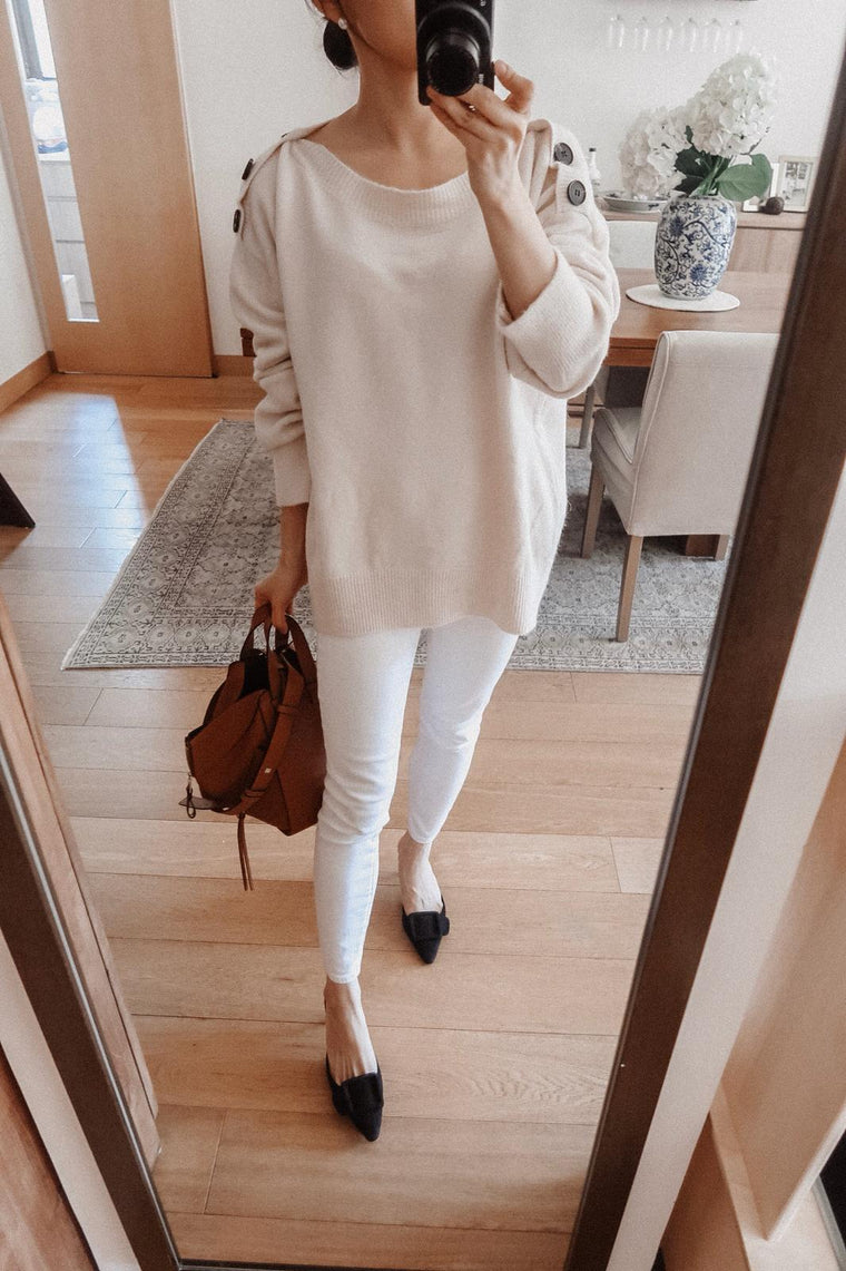 Gladys Cream Buttoned Shoulder Sweater