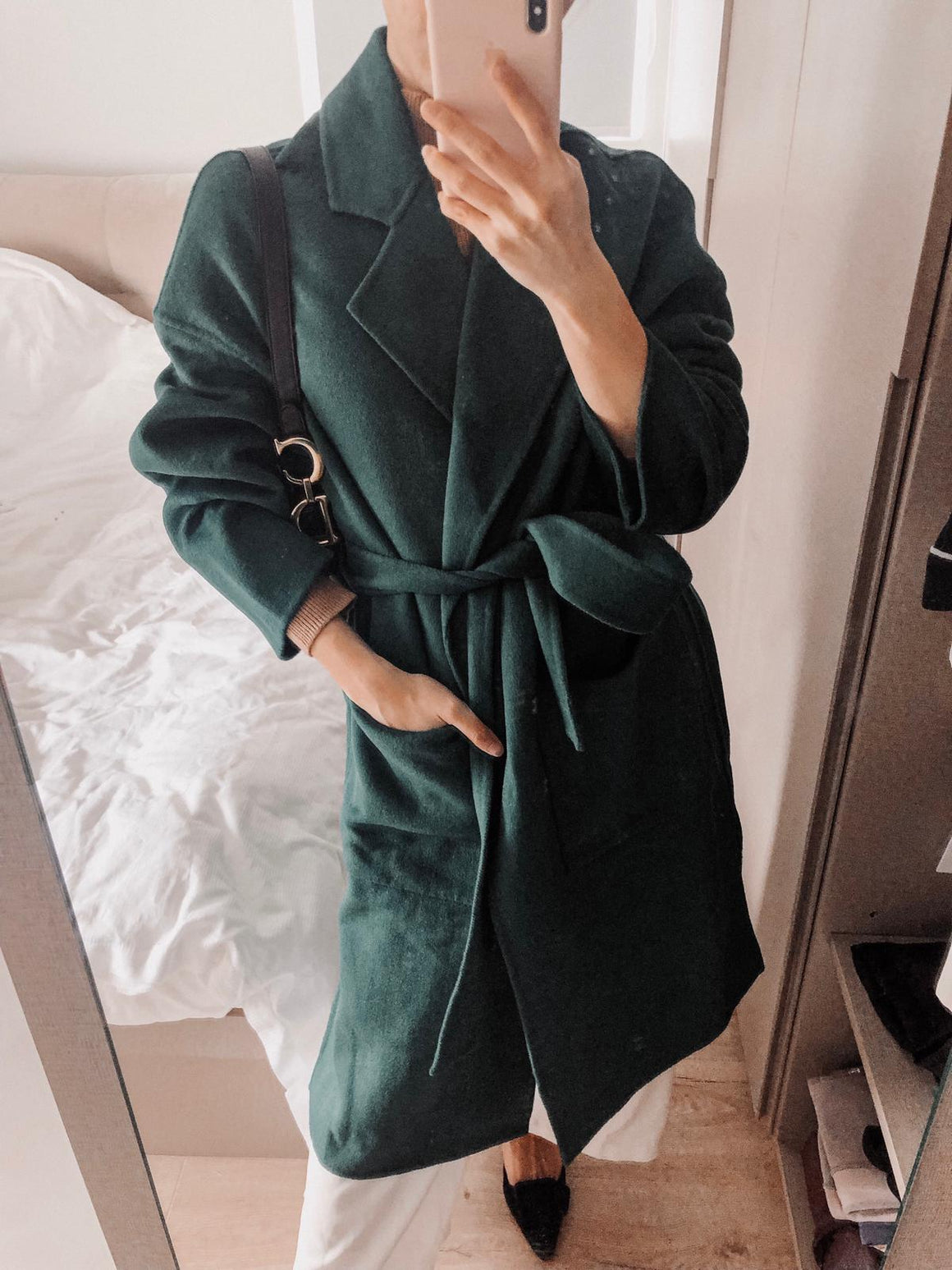 Emma Wool Green Long Coat