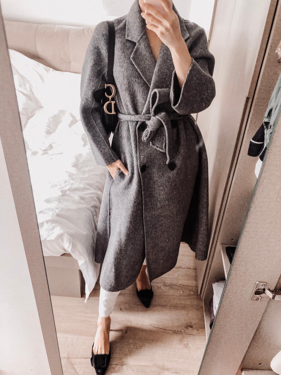 Carina Double-breasted Wool Long Coat