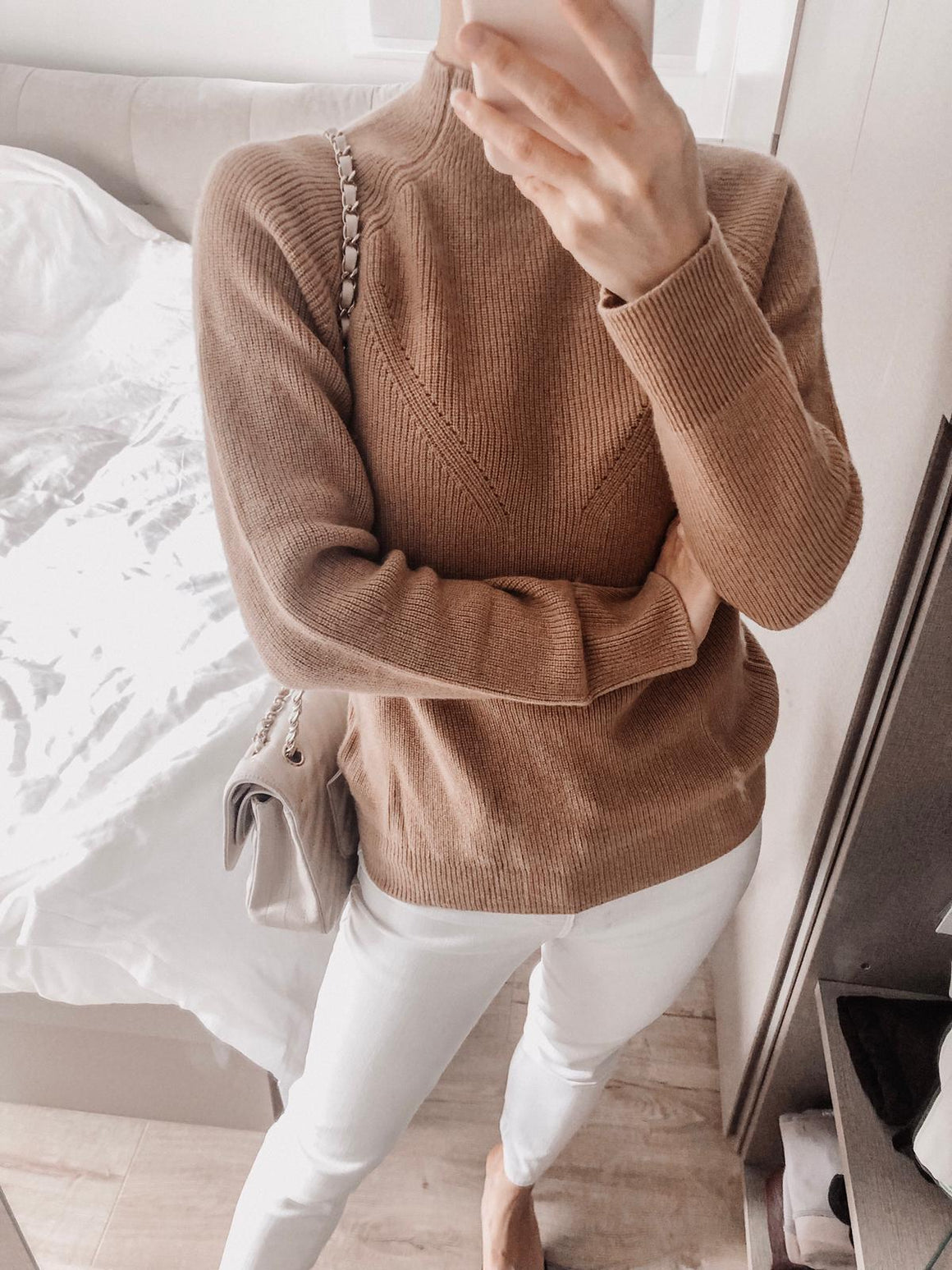 Rose Cashmere High-Neck Sweater