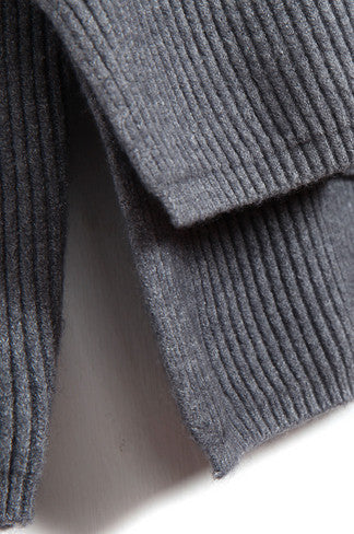 Classic Grey Turtleneck Ribbed Sweater