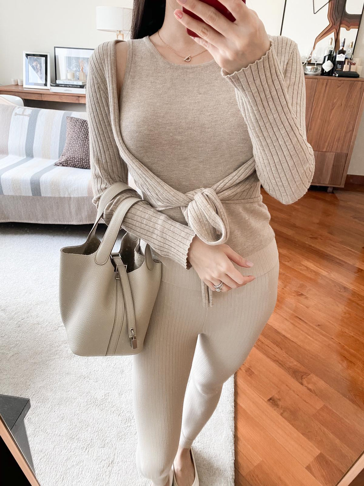 Josie khaki ribbed two-piece set