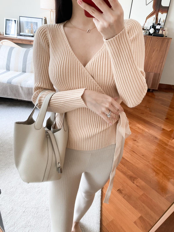 Zoe khaki ribbed wrap tied sweater