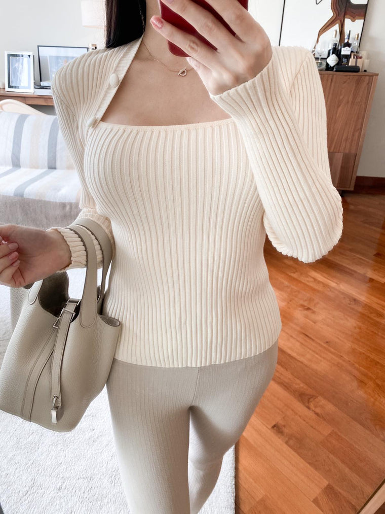 Ivy cream ribbed buttoned shoulder sweater