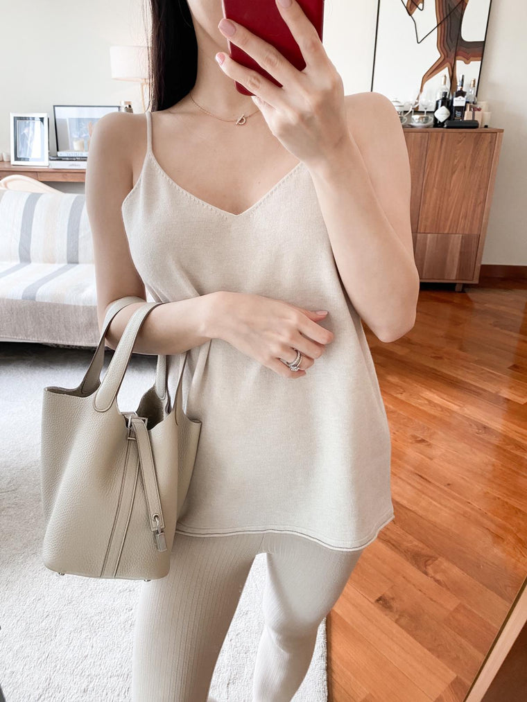 Latisha beige knitted cami top
