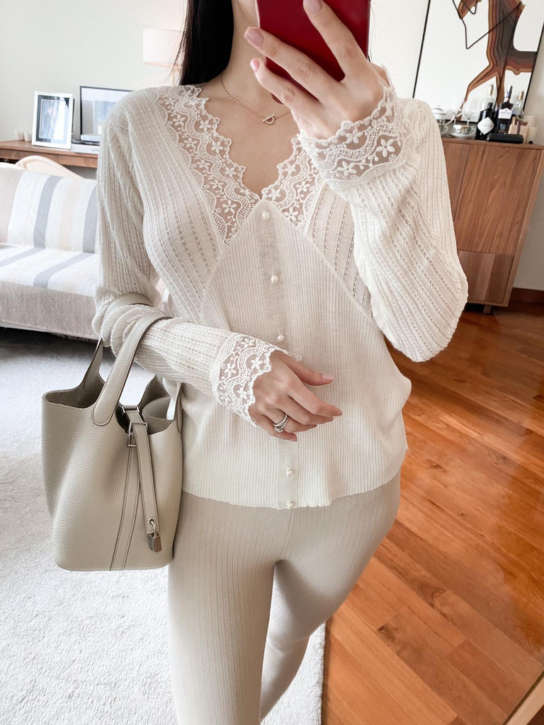 Ronnie white lace pleated v-neck sweater
