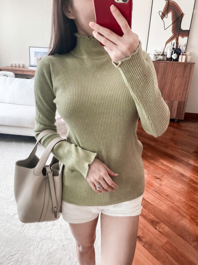 Ada green frilled hem ribbed sweater