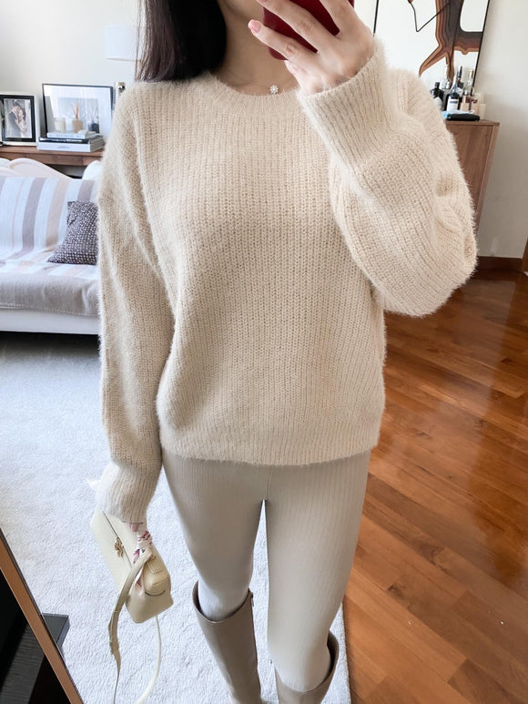 Gladys cream soft fuzzy sweater