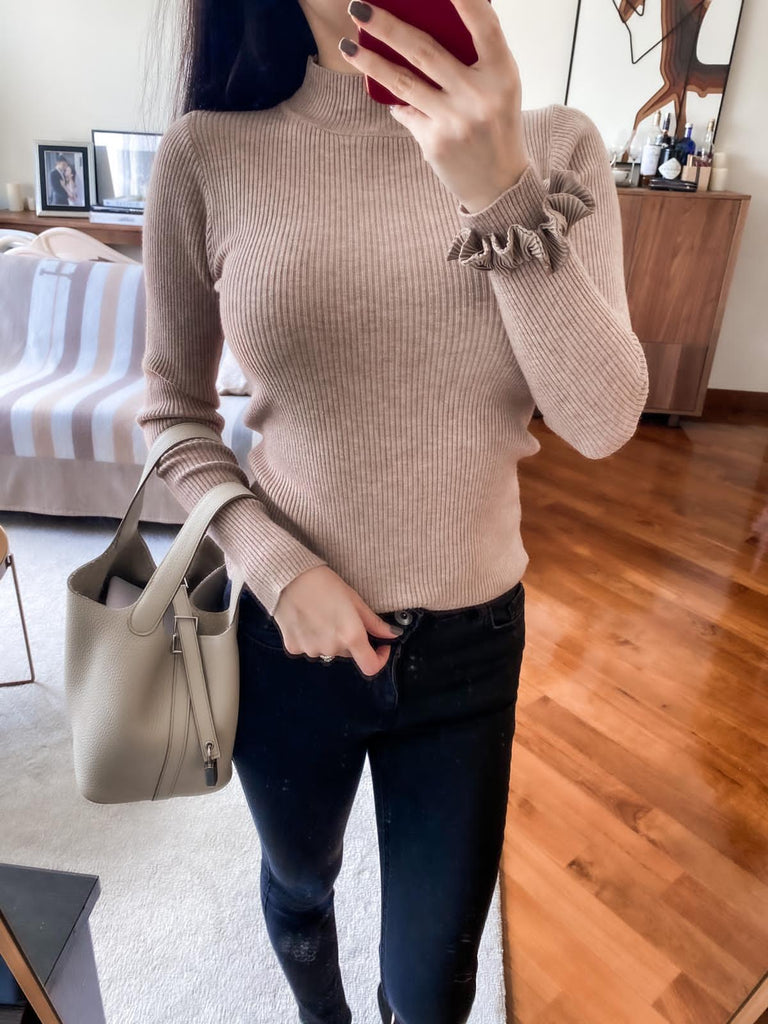 Sallie funnel-neck ribbed sweater (3 Colors)