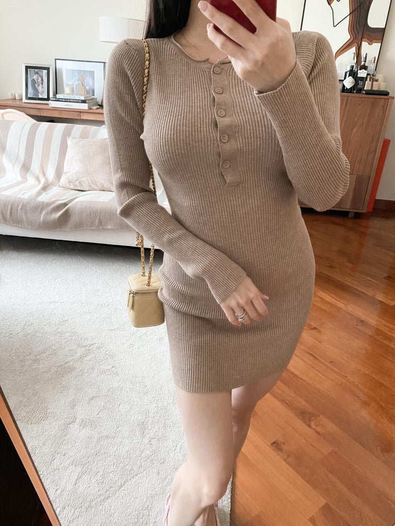 Nancy khaki ribbed button dress