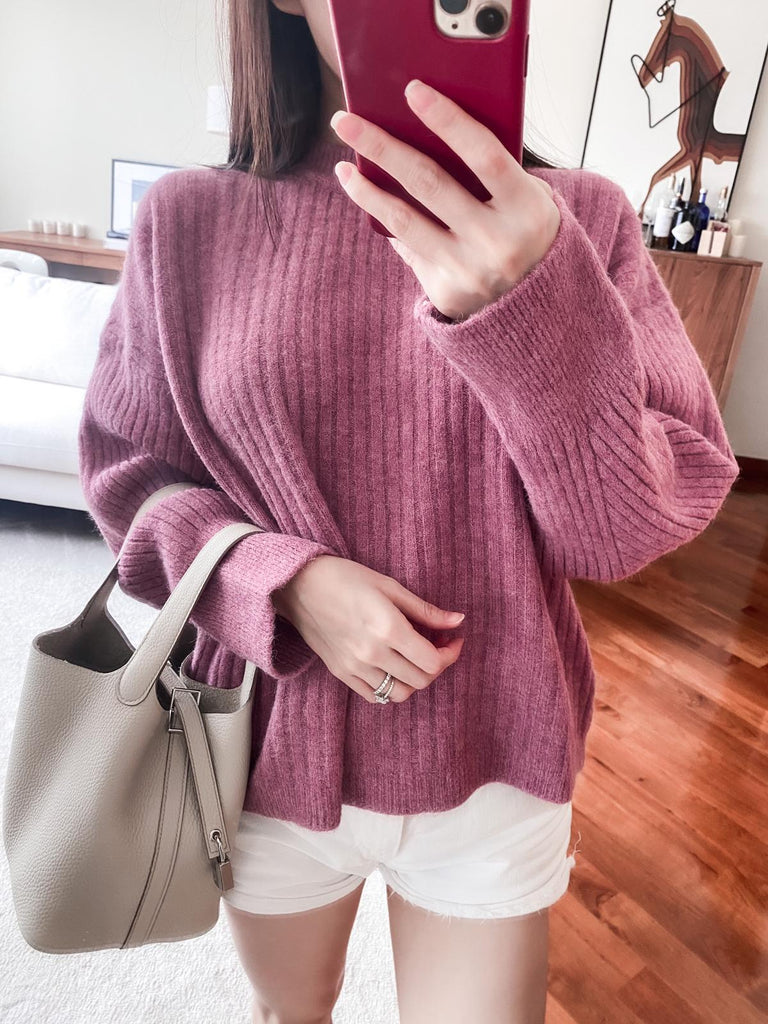 Brooklyn pink crewneck ribbed sweater