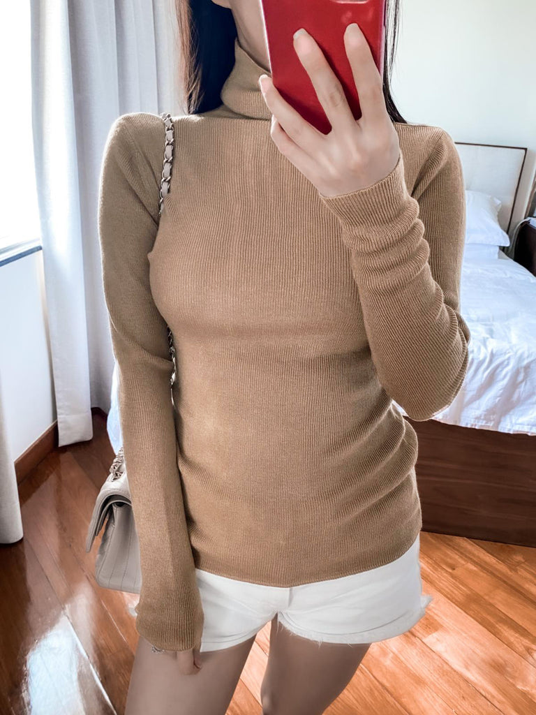 Jacky brown turtleneck knitted sweater