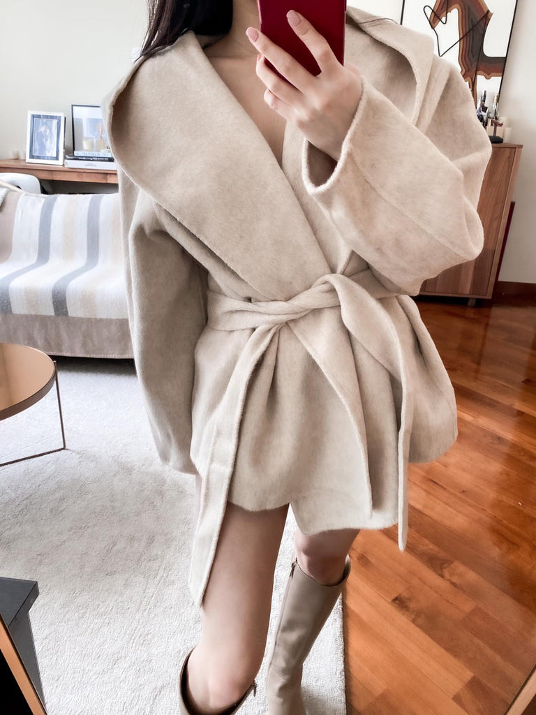 Felicity beige wool blend belted coat