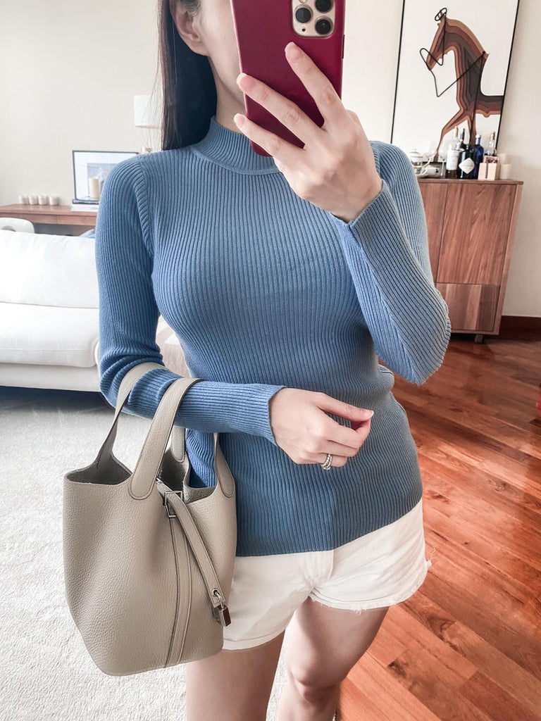 Sally blue funnel-neck ribbed top