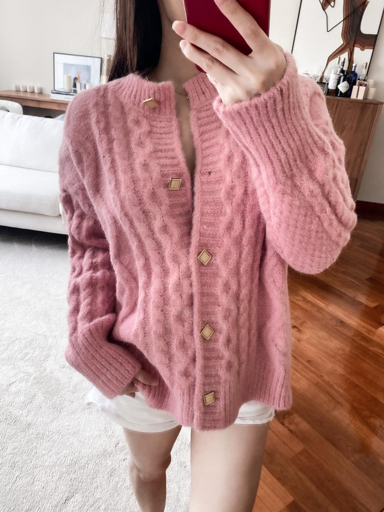 Ellen pink cable-knit buttoned cardigan