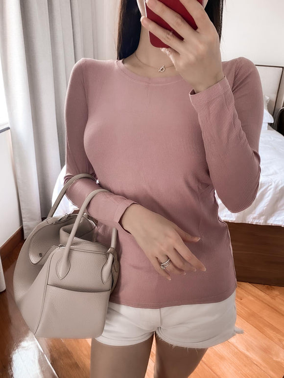 Emmy pink ribbed crewneck top