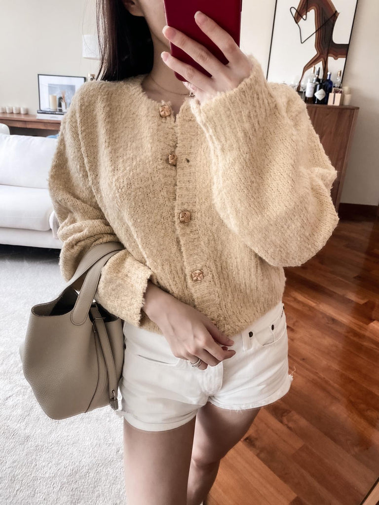Cory Yellow Gold Buttoned Soft Cardigan