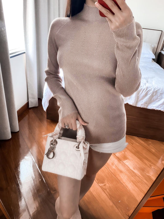 Katie dusty pink high-neck ribbed sweater