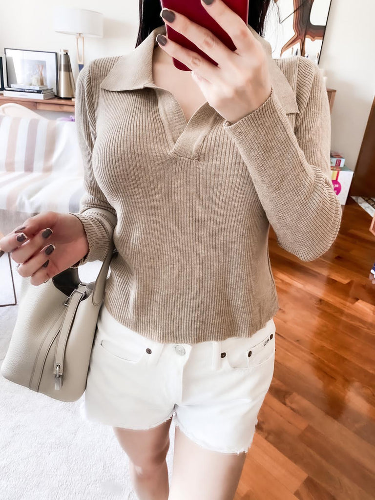 Sue khaki polo knitted sweater