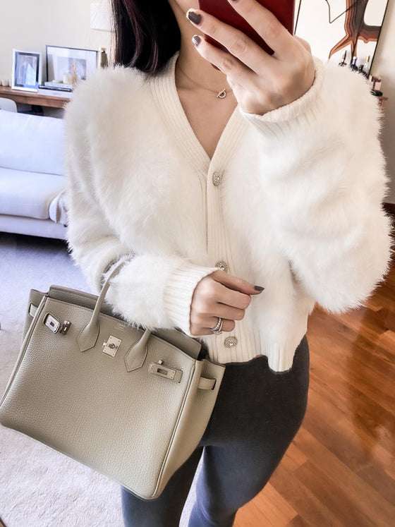 Josephine white buttoned mink cardigan