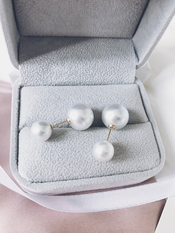 Silver Overtone Double White South Sea Pearl Earrings ( Three Ways to Wear )