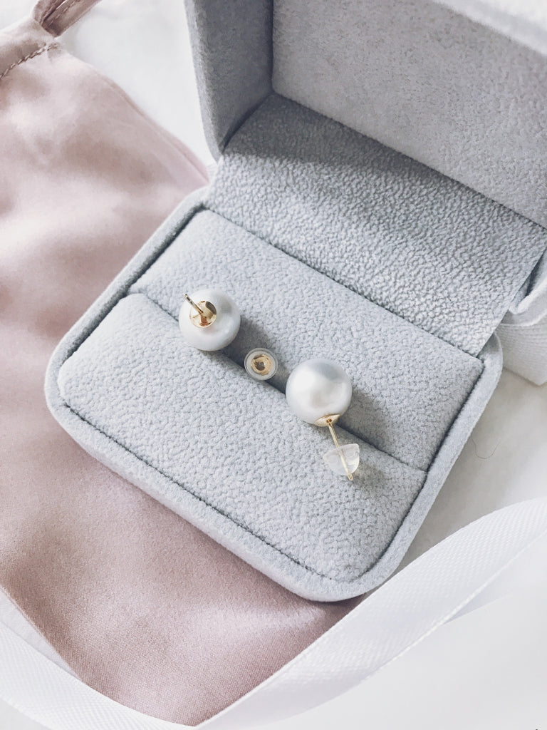 AAA Grade Silver Tone South Sea Pearl Stud Earrings