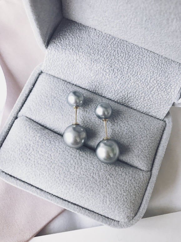 Double Light Grey Tahitian Pearl Earrings ( Three Ways to Wear )