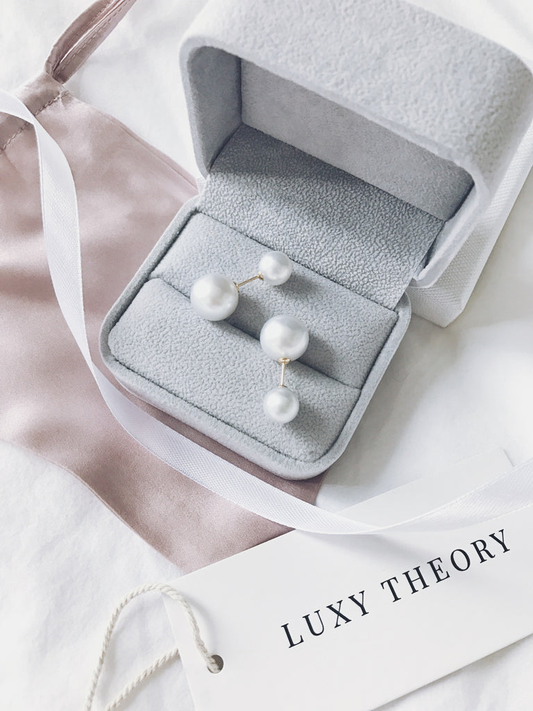 Cream Overtone Double White South Sea Pearl Earrings ( Three Ways to Wear )