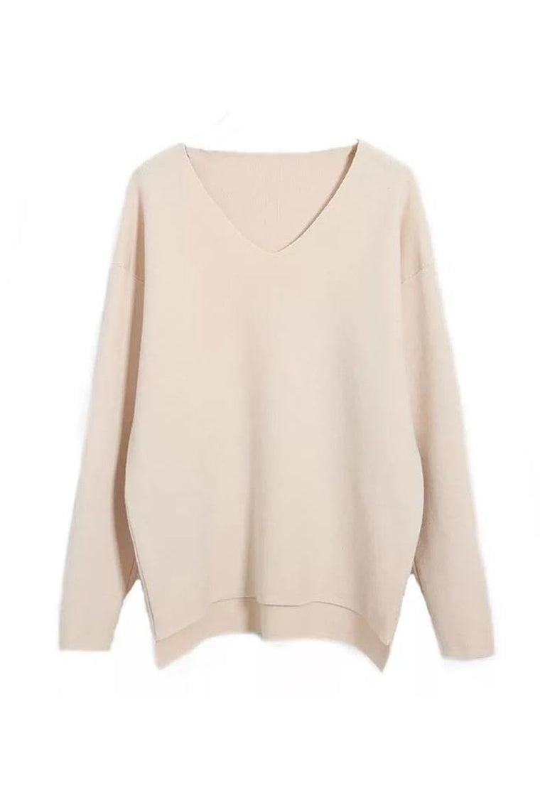 Heather Oatmeal V-neck Poncho Sweater